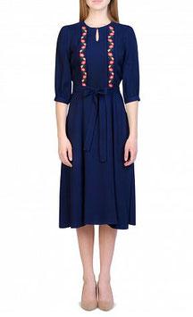Dunkelblaues Kleid mit Stickerei von Ksenia Knyazeva (kk-7481)
