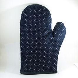 Siebdruck, Topf-Handschuh, dunkelblau mit kleinen weißen Punkten