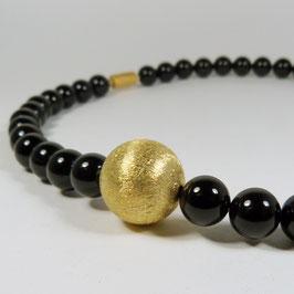 Onyx Kugel Kette Gold