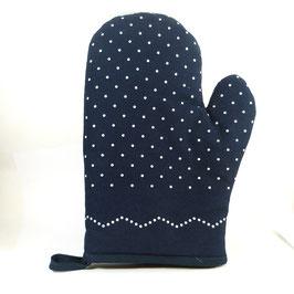 Siebdruck, Topf-Handschuh, dunkelblau mit Bürgelkante