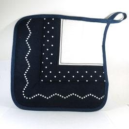 Siebdruck, Topflappen, dunkelblau/weiß mit Bürgelkante