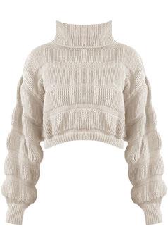 Crop Pullover beige