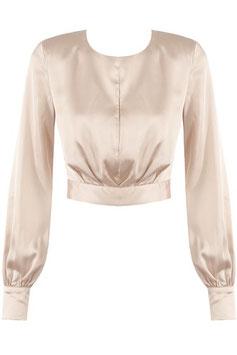 Crop Bluse mit Schleife beige