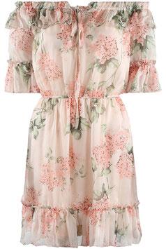 Schulterfreies Kleid mit Blümchen beige