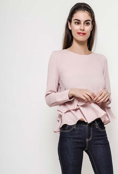 Bluse mit Rüschen - rosa