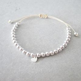 Macramée Monogramm & Pearls Armband  | Herz | Sterlingsilber