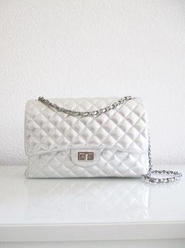 Gesteppte Tasche XXL Silber