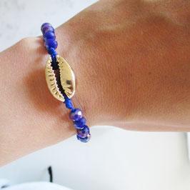 Kaurimuschel Armband mit Glassschliffperlen | Sterlingsilber Gelbvergoldet