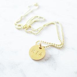 Monogramm Halskette Sterlingsilber | Gelbvergoldet | Kugelkette