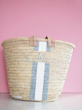 Korbtasche mit eigenem Monogramm Grau | Weiß