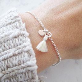 Monogramm Armband mit Herz Personalisiert & Quaste 925er Sterlingsilber