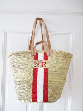 Korbtasche mit eigenem Monogramm Rot & Weiß