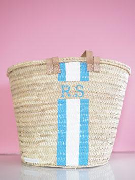 Korbtasche mit eigenem Monogramm Hellblau & Weiß