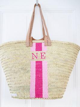 Korbtasche mit eigenem Monogramm Rosa & Pink