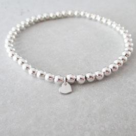 Monogramm & Pearls | Herz Stretch Armband | Sterlingsilber