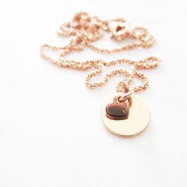 Monogramm Halskette Sterlingsilber mit Herz    Rosévergoldet   Glitzerkette