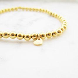 Monogramm & Pearls | Herz Stretch Armband | Sterlingsilber vergoldet