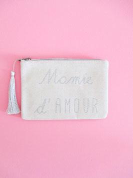 Mamie d'amour Clutch Silber Glitzer