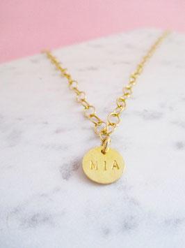 Maxi Monogramm Halskette 925er Sterlingsilber Gelbvergoldet mit Plättchen | Personalisiert