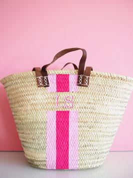MEDIUM Korbtasche mit eigenem Monogramm Rosa & Pink
