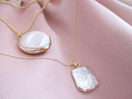 Halskette mit Statement Perle 925er Sterlingsilber vergoldet