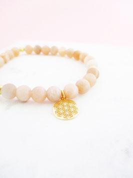 Mondstein Armband mit Lebensblume 925er Sterlingsilber
