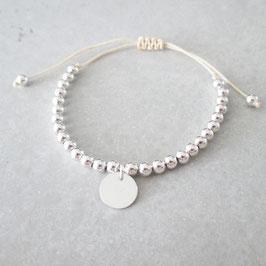 Macramée Monogramm & Pearls Armband | Coin | Sterlingsilber