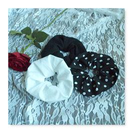 Set 3 Farben Haar Scrunchies Weiß Schwarz Punkte jsde3
