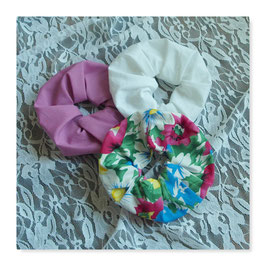 Set 3 Farben Haar Scrunchies bunte Blumen Dark Rosenholz Weiß zgfr4