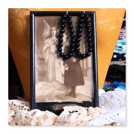 große Perlen Ohrringe Ohrhänger Vintage Gothic schwarz