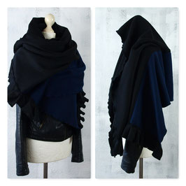 DARK FOREST Schal Stola Fleece SCHWARZ NAVY