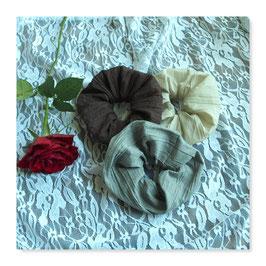 Set 3 Farben Haar Scrunchies Knitter Crash Beige Braun Steingrau bsw22