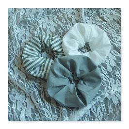 Set 3 Farben Haar Scrunchies Weiß Hellgrau Streifen scdre4