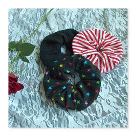 Set 3 Farben Haar Scrunchies Schwarz Sterne Bunt Rot Weiß Streifen lsfe3