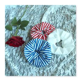 Set 3 Farben Haar Scrunchies Weiß Blau Rot Streifen Maritim Küste Strand sw322