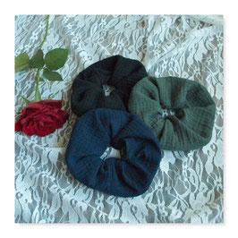 Set 3 Farben Haar Scrunchies Muslin Navy Blue Black Dirty Green bllh4