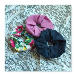 Set 3 Farben Haar Scrunchies bunte Blumen Dark Rosenholz Navy Blue jftr4