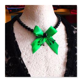 Halskette Collier Kette Vintage Schleife Gothic GRÜN