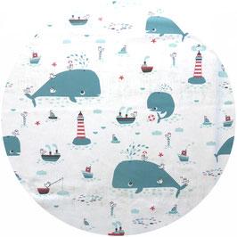 Baleines sur fond blanc