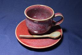 辰砂コーヒーカップ&ソーサー スプーン付き
