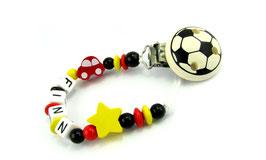 Schnullerkette mit Namen - Deutschland Auto, Stern & Fußballclip 005