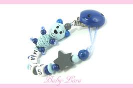 Schnullerkette mit Namen -  Teddy mit Stern blau 1004