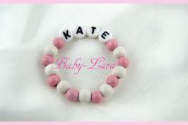 Babyarmband mit Namen - Rosa 017
