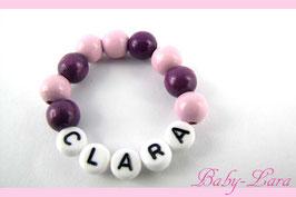 Babyarmband mit Namen - Rosa/lila 024