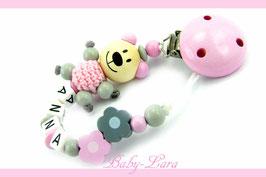 Schnullerkette mit Namen -  Teddy mit Blumen rosa/grau 987