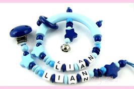 Schnullerkette und Greifling mit Namen - Sterne & blauer Clip bzw. Ring & Glöckchen 041