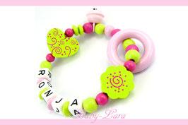 Greifling mit Namen - Herz, Blume, Ring & Glöckchen rosa 172