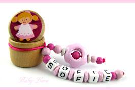 Zahndose mit Namen - Mädchen mit rosa Blume 113