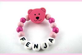 Babyarmband mit Namen - Teddy rosa/pink 027