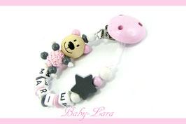Schnullerkette mit Namen -  Teddy mit Stern rosa/grau 1006